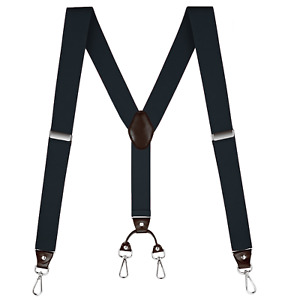 "Buyless Fashion Suspenders Men - 48"" Elastic Adjustable Straps 1 1/4"" - Y Back"