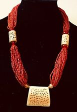 Vintage Red Coral Beaded Necklace with carved natural  26""