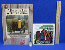 A Day In The Life Of The Amish Hardcover Book  Trivet & Souvenir Spoon Lot of 3