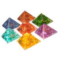 7pcs Seven Chakra Onyx Orgone Pyramid Energy Generator Reiki Healing (1 Inch)
