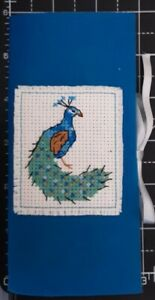 Handmade Completed Cross Stitch - Needle Storage - Peacock