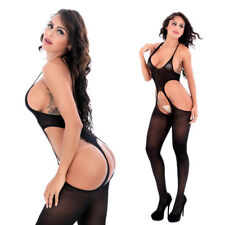 Women's-Sexy-Lingerie-OPEN Crotch-Garters-Body stocking-Dress-Sleepwear-Bodysuit
