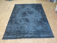 9'9 X 12'6 Hand Knotted Vintage Overdyed Charcoal Gray Tabrez Oriental Rug G6316