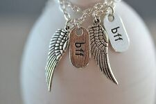 NW044-2 Two BFF Wing Necklaces, Best Friends, Angel, Sisters, Castiel