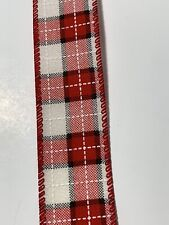 """5 Yds- 1 1/2"""" Wired Christmas Faux Linen Red,White & Black Window Pane Ribbon"""