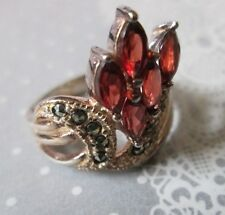 Vintage STERLING SILVER Ring* RED FLORAL SPRAY w marcasite*sz 7            *6613