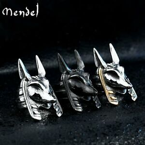 MENDEL Mens Egyptian Amulet Gold Black Anubis Ring Men Stainless Steel Size 7-15