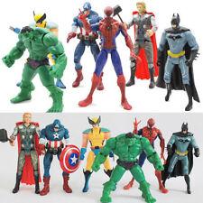 6PCS The Avengers Hulk+Wolverine+Batman+Spiderman Action Figures Boy Xmas Gift