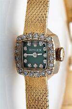 Estate $6000 ROLEX GREEN Diamond DIAL BEZEL 14k Gold Ladies Watch BOX & WTY