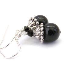 Black Pearl Earrings Crystal 925 Sterling Silver Austrian Crystals Dangle Drop
