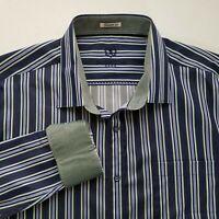 Bugatchi Uomo Mens Striped Button Front L/S Shaped Fit  Shirt Flip Cuff 2XL Z126