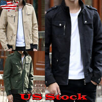 Mens Casual Biker Jacket Motorcycle Coat Zip Up Stand Neck Slim Fit Outwear Size