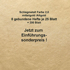 200 Blatt Schlagmetall F 2,0 (Blattsilber Blattgold Blattmetall Imitat  16x16 cm