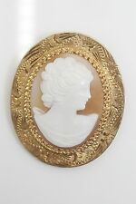 Beautiful Woman with Hand Engraved Frame Vintage Unique 14k Yellow Gold Cameo of