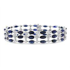Dark Blue Tanzanite 3 Row 14K White Gold Finish Link Bracelet In Sterling Silver