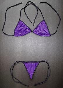 Dunkellila Tanga Bikini lila & schwarz Sexy Schwimmen Kostüm Schulterfreie G-String