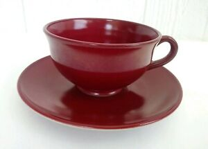 Anchor Hocking Red Colored Milk Glass Tea Coffee Cup & Saucer Plate Vtg