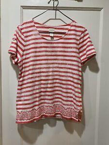 Chicos 1 Small Medium Light Red Stripe Pullover Shirt 5723