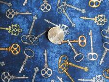 1/2 yard Blue Keys Print Cotton Fabric ~ Quilting Treasures