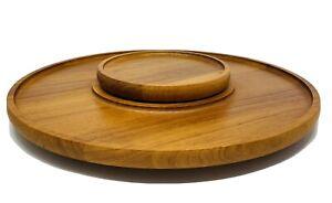 Nissen Teak Wood Lazy Susan MCM Mid Century Danish Modern Made in Denmark