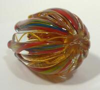 HAND BLOWN GLASS ART PAPERWEIGHT, DIRWOOD, SIGNED, RED GOLD GREEN BLUE PURPLE