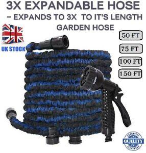 EXPANDABLE HOSE Stretchable FLEXIBLE 50,75,100,150 Ft SPRAY GUN Garden Hose PIPE