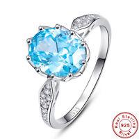 4CT Oval Cut Swiss Blue Topaz 100% 925 Sterling Silver Ring Size L½ N½ P½ R½