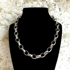 10mm Width Silver Color Shiny Stainless Steel Elipse Link Chain Necklace Jewelry