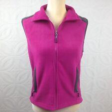 Women's 10,000 FT Magenta Pink Full Zip Up Mock Neck Soft Fleece Vest Size Small