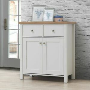 Astbury Compact 2 Doors 2 Drawer Sideboard Storage Cabinet Cupboard White Oak