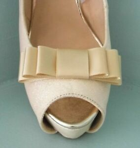 2 Handmade Caramel Triple Bow Shoe Clips - other colours on request