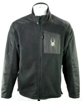 Spyder Mens Medium Black Full Zip Fleece Winter Sweater Jacket