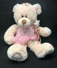 FIRST & MAIN Plush Stuffed Bear Pink Tutu Wand Princess Headband Weighted Bottom