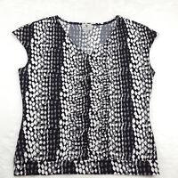 Worthington Stretch Womens Size Large V-Neck Blouse Black & White Cap Sleeve