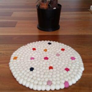 40cm Nepalese Handmade Felt Ball Round Rug Mat Carpet White Mix Dotted 100% Wool