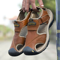 Mens Hiking Genuine Leather Sandals Closed Toe Fisherman Beach Shoes