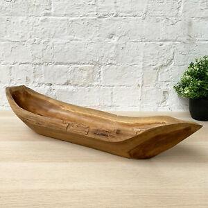 Antique Rustic Kitchen Hand Carved Teak Root Wood Boat Fruit Snack Nut Bowl 60cm