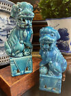Lovely Turquoise Chinoiserie Porcelain Qilin Foo Dog Dragon Lion Mantle Pair 8