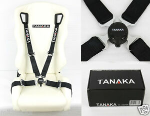 TANAKA BLACK 4 POINT CAMLOCK QUICK RELEASE RACING SEAT BELT HARNESS FIT SUBARU