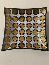 Vintage Mid Century Mod Ashtray Jewelry Tray Catch All Gold Tone Black Retro