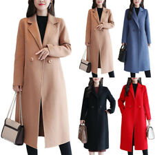Women Blazer Collared Trench Coat Jacket Winter Warmer Casual Outwear Overcoat