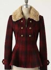Elevenses Anthropologie Red Wool Plaid Military Faux Fur Peplum Jacket Sz 2