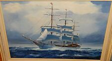 C.B. ANDERS HUGE ORIGINAL OIL ON CANVAS SAILING SHIP SEASCAPE PAINTING