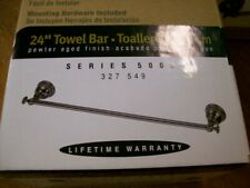 "New Pegasus 24"" Towel Bar Rack Pewter Aged Finish Brass Construction Msrp $107"