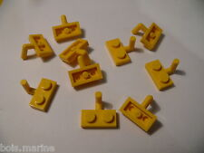 Lego 10 plate modifiees jaunes set 4789 6004 5508 6479 10 yellow plate with arm