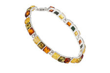 925 Sterling Silver Bracelet Natural Baltic Amber Square Gems Jewellery Jewelry