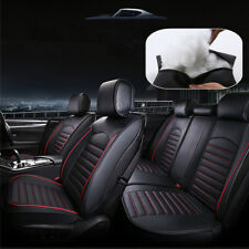 Luxury PU Leather Car Seat Cover Cushion 5-Seats Adjustable Rear Bench w/ Pillow