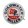 Vtg Goldwater Miller 1964 Go Party Political Campaign Lithograph Pinback Button