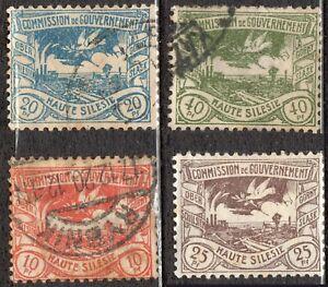 Lot 4 timbres POLOGNE HAUTE SILESIE COMMISSION DE GOUVERNEMENT 1920