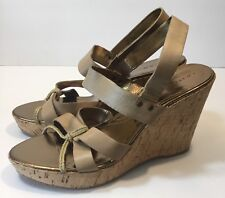 TAHARI NEW WMNS INDIA SANDALS NATURAL LEATHER ROPE CORK WEDGE PLATFORM  SZ 10M